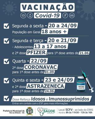 Confira a programação para aplicação das doses das vacinas da Covid-19  em Herval d' Oeste