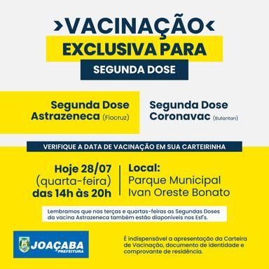 Joaçaba realizará nesta quarta-feira (28) somente vacinação da 2º dose para vacinados com Astrazeneca e Coronavac