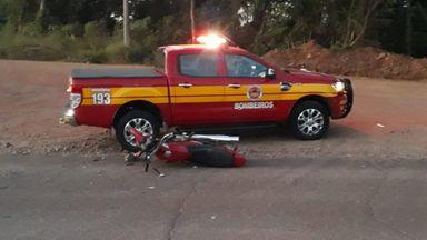 Motociclista fica ferido em acidente na SC 283 em Seara