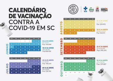 Vacinação em SC: Estado vai vacinar toda a população catarinense acima de 18 anos até o fim do mês de outubro