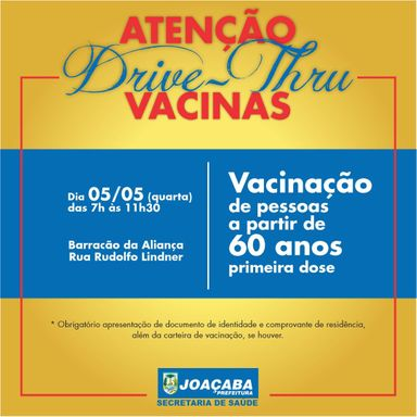 Drive Thru de vacinação para pessoas a partir de 60 anos será nesta quarta-feira, 5, em Joaçaba