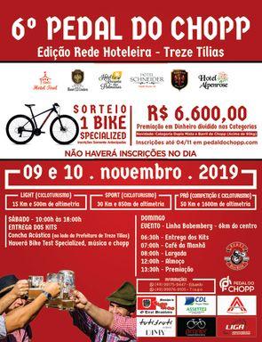 Inscrições abertas para o 6º Pedal do Chopp que acontece em novembro em Treze Tílias