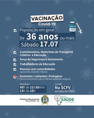 População com 36 anos ou mais pode se vacinar contra a Covid-19 em Herval d' Oeste neste sábado (17)