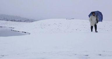 Paisagem branca pela grande e histórica nevada de agosto de 2013 em Cambará do Sul (RS)