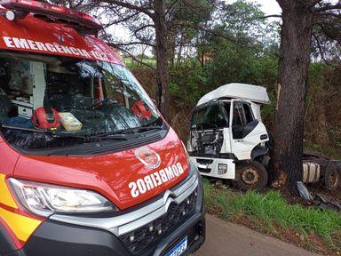 Motorista de 67 anos fica ferido após cavalo mecânico colidir contra árvore