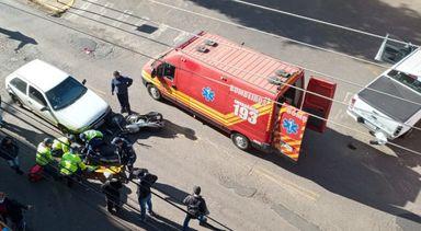 Motociclista fica ferido em acidente no Centro de Herval d´Oeste