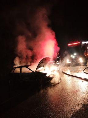 Veículo fica destruído após pegar fogo na SC-453