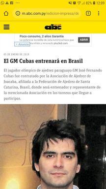 Imprensa paraguaia repercute a contratação do técnico pela Associação de Xadrez de Joaçaba. Foto Divulgação