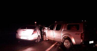 Passageira morreu após caminhonete colidir na lateral do Prisma, no km 82 da rodovia(Foto: Polícia Rodoviária Federal (PRF))
