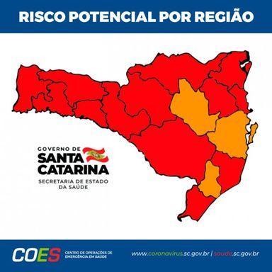 Coronavírus em SC: Matriz de Risco aponta 13 regiões em estado gravíssimo