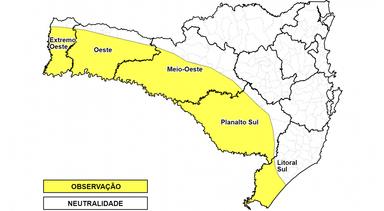 Defesa Civil divulga alerta para temporais, com rajadas de vento e granizo