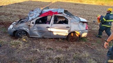 Carro com placas de Joaçaba se envolve em acidente na BR-470 em Campos Novos