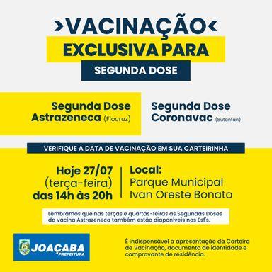 Joaçaba realizará nesta terça-feira (27) somente vacinação da 2º dose para vacinados com Astrazeneca e Coronavac