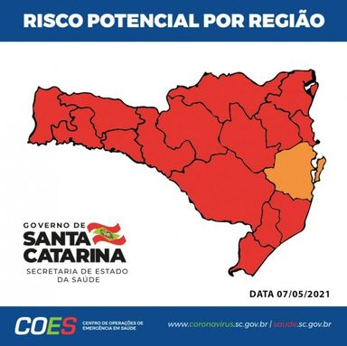 Coronavírus em SC: Pela segunda semana consecutiva, apenas uma região do estado está em nível grave