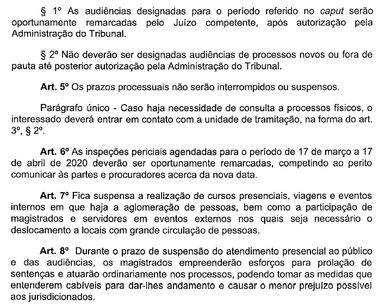 Justiça do Trabalho suspende até 17 de abril audiências, atendimento ao público e perícias
